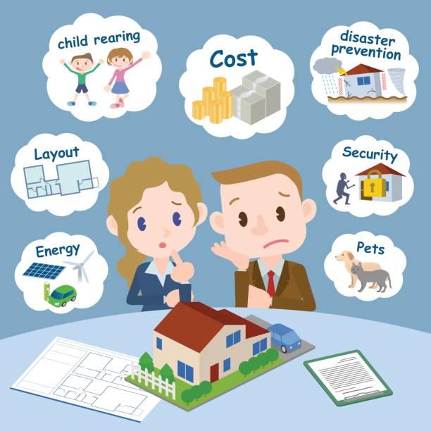 ilustrações de stock, clip art, desenhos animados e ícones de worries of housing purchase, house model and documents in front of couple. - bills couple