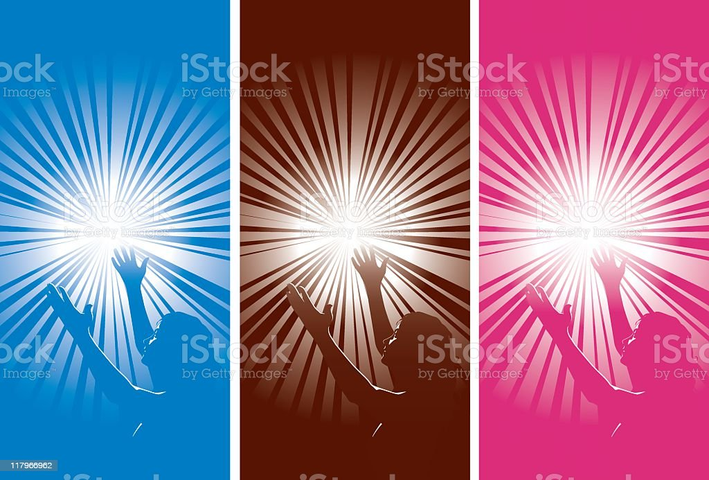 Worship Girl lifting her hands to the sky royalty-free stock vector art
