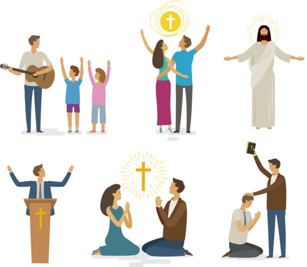敬拜, 禱告, 信仰圖示集合。宗教概念。向量插圖 - prayer 幅插畫檔、美工圖案、卡通及圖標
