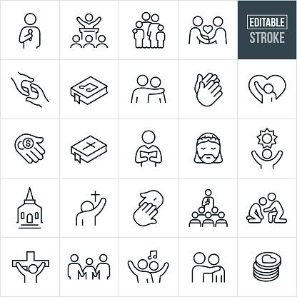 Worship Thin Line Icons - Editable Stroke