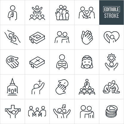 A set of worship icons that include editable strokes or outlines using the EPS vector file. The icons include a pastor giving sermon, a religious leader giving sermon to a congregation, family of four, handshake, two hands reaching out to one another, hymnal, person with arm around the shoulder of another person, two hands together in prayer, downtrodden person, sad person, hand with coins to pay tithing, bible, choir director, Jesus Christ, hope, church building, people worshiping, person teaching Sunday school, person helping a depressed person, Christ on the cross, Crucifixion, family holding hands, people singing and other related icons.