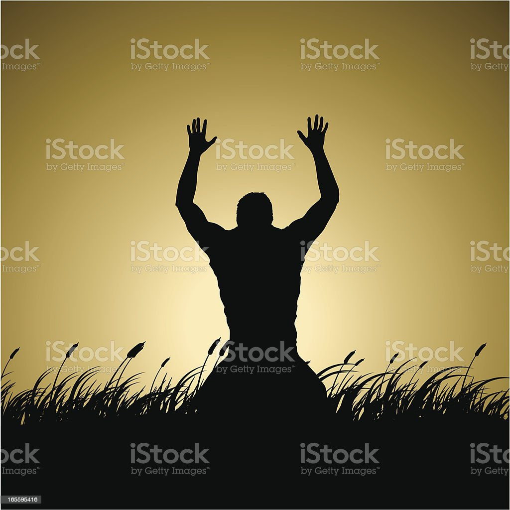 Worship vector art illustration
