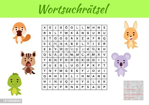 istock Wortsuchrätsel - Word search puzzle. Kids activity worksheet colorful printable version. Educational game for study German words. Includes answers. Vector stock illustration 1315539552