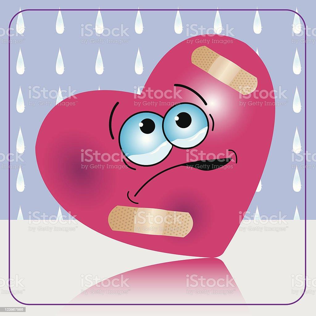 Wounded Heart vector art illustration