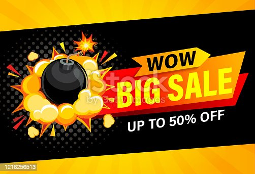 istock Wow, Big sale banner. Up to 50 percent off. 1216256513