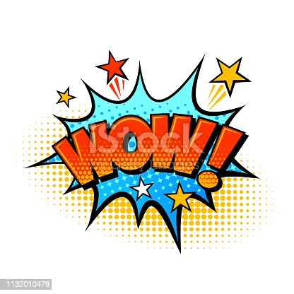 Wow comic sound effect speech balloon vector illustration