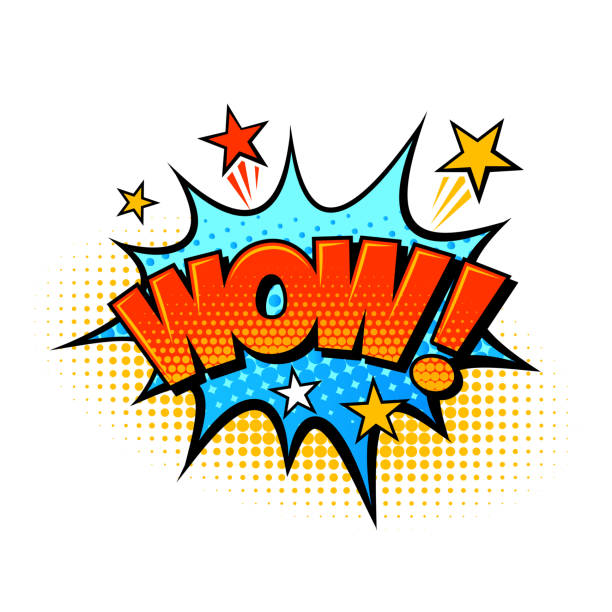 wow comic-sound-effekt sprachballon - wow stock-grafiken, -clipart, -cartoons und -symbole