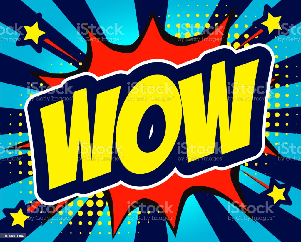 Wow Comic Text In Speech Bubble Colored Pop Art Style Sound