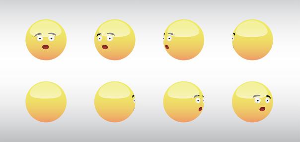 3D Wow Head Emoticon Spinning Social Media Icons Vector