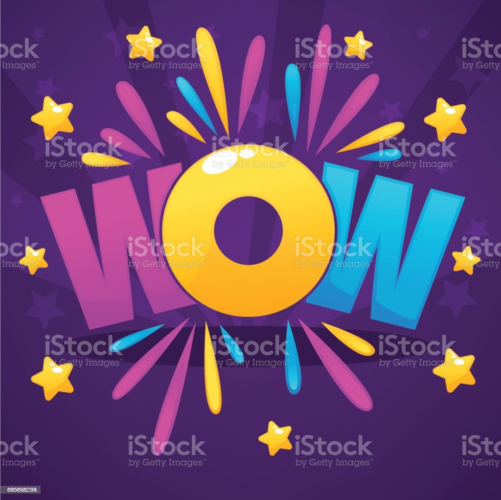 Wow lettering sign with color confetti  and gold stars ロイヤリティフリーwow lettering sign with color confetti and gold stars - まぶしいのベクターアート素材や画像を多数ご用意