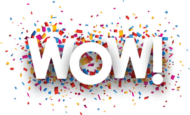 Wow sign Wow sign with colour confetti. Vector paper illustration. excitement stock illustrations