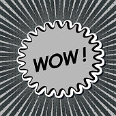 Vector of WOW! Exclamation in Pop Art Style with zoom background.