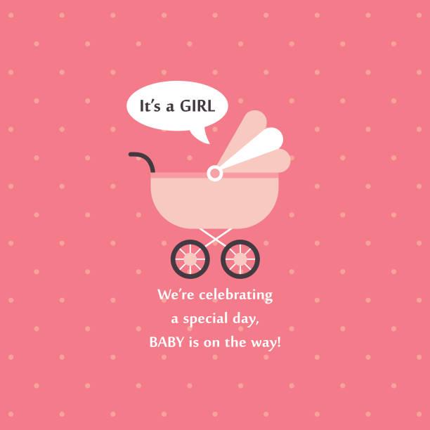 w/q baby shower card design. vector illustration it's a girl stock illustrations