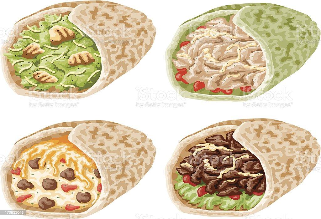 Wrap Sandwich Icon Set vector art illustration