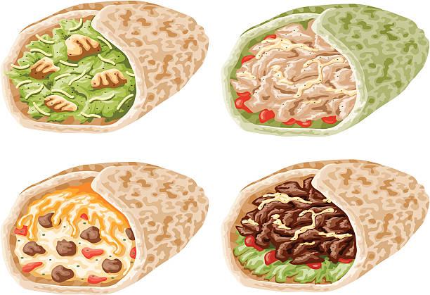 wrap sandwich-icon-set - tortillas stock-grafiken, -clipart, -cartoons und -symbole