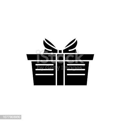 Wrapped gift basket black icon, concept vector sign on isolated background. Wrapped gift basket illustration, symbol