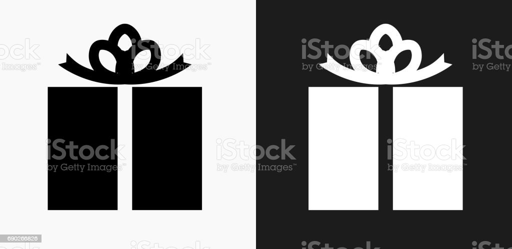 Wrapped Present Icon on Black and White Vector Backgrounds vector art illustration