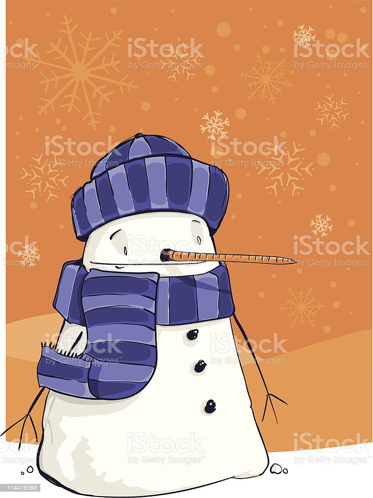 Wrapped up Snowman vector art illustration