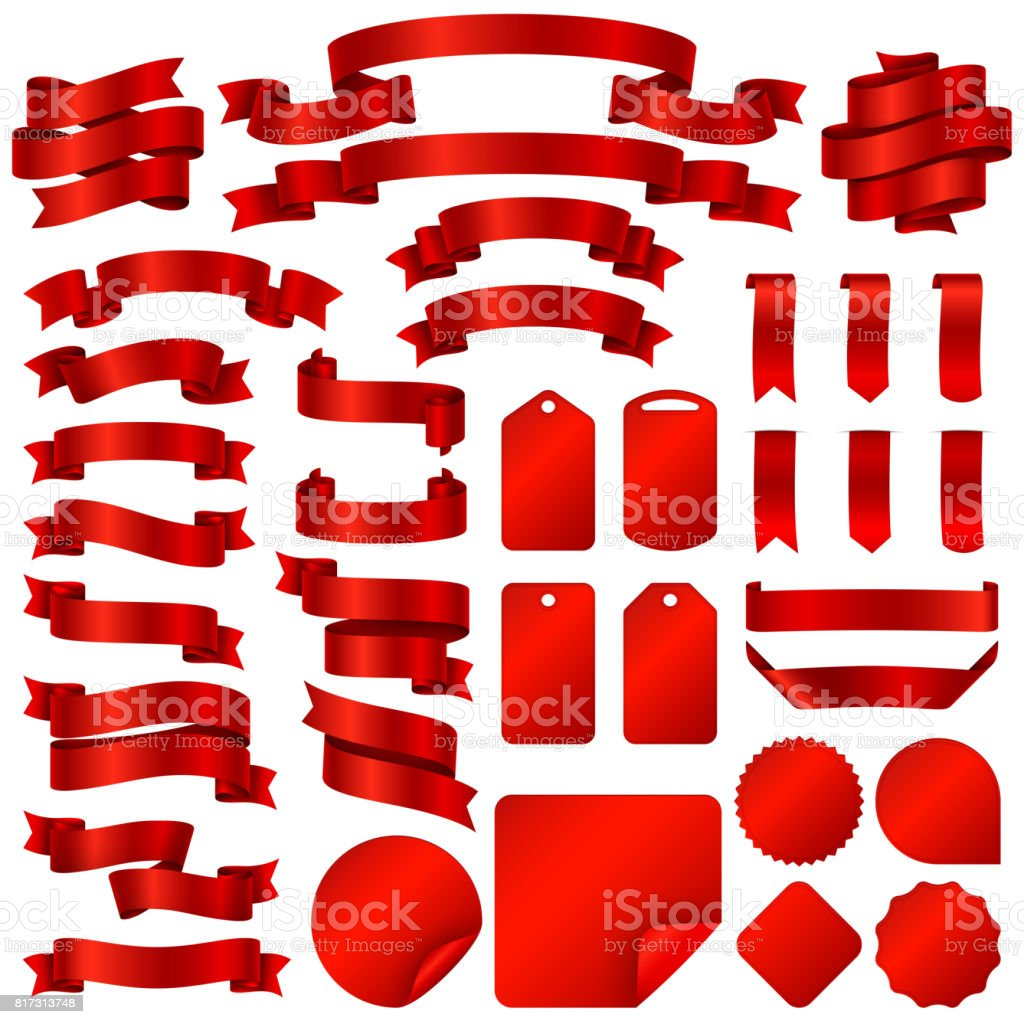 Wrapping red ribbon banners and price tag badges vector set