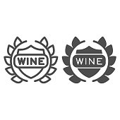 Wreath and emblem with sign wine line and solid icon. Laurel crown with shield wine text outline style pictogram on white background. Winery signs for mobile concept and web design. Vector graphics