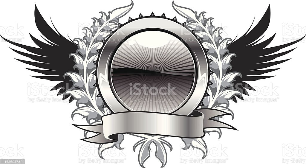 wreath and wing crest royalty-free stock vector art