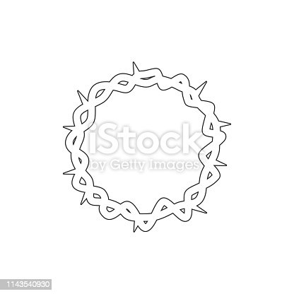 istock wreath, Christianity outline icon. Elements of Easter illustration icon. Signs and symbols can be used for web, logo, mobile app, UI, UX 1143540930