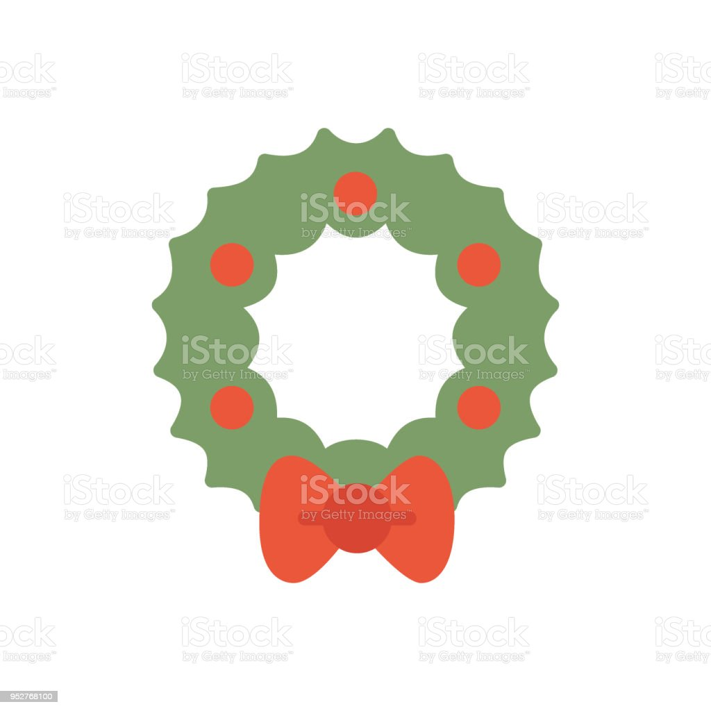 Christmas Holidays Icon.Wreath Christmas Holidays Flat Icon Vector Stock Illustration Download Image Now