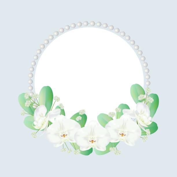 kranz, dekoriert mit orchideen - perlenstrauß stock-grafiken, -clipart, -cartoons und -symbole