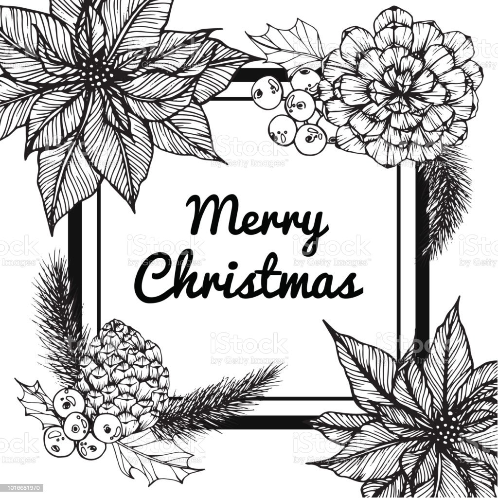 Christmas Day Drawing Images.Wreath For Merry Christmas Day With Drawing Line Art Of