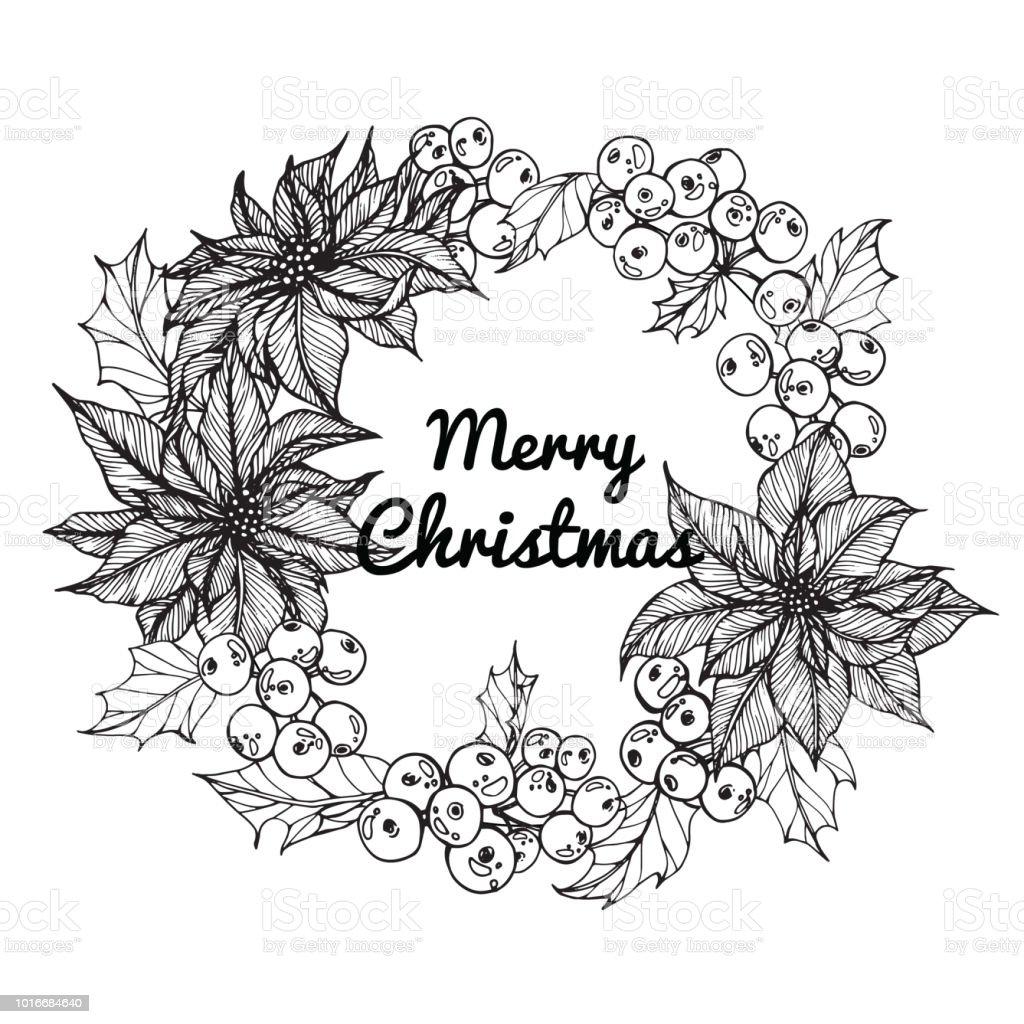 Kranz Für Merry Christmas Tag Mit Strichzeichnungen Der ...