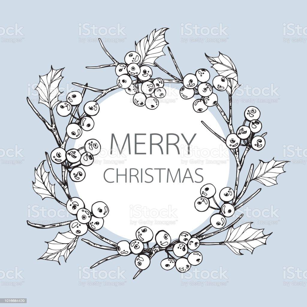 Kranz Für Merry Christmas Tag Mit Linie Kunst Schwarzweiß ...
