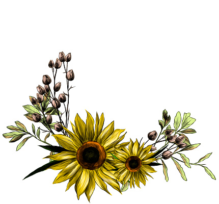 wreath in the form of a bouquet of two sunflower leaves and dry grass