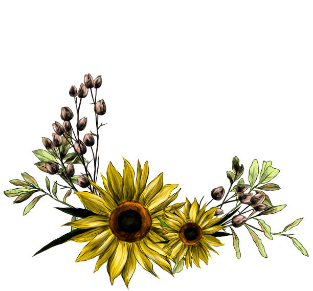 wreath in the form of a bouquet of two sunflower leaves and dry grass – artystyczna grafika wektorowa