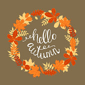 Wreath of autumn leaves. Hello autumn. Vector  illustration.