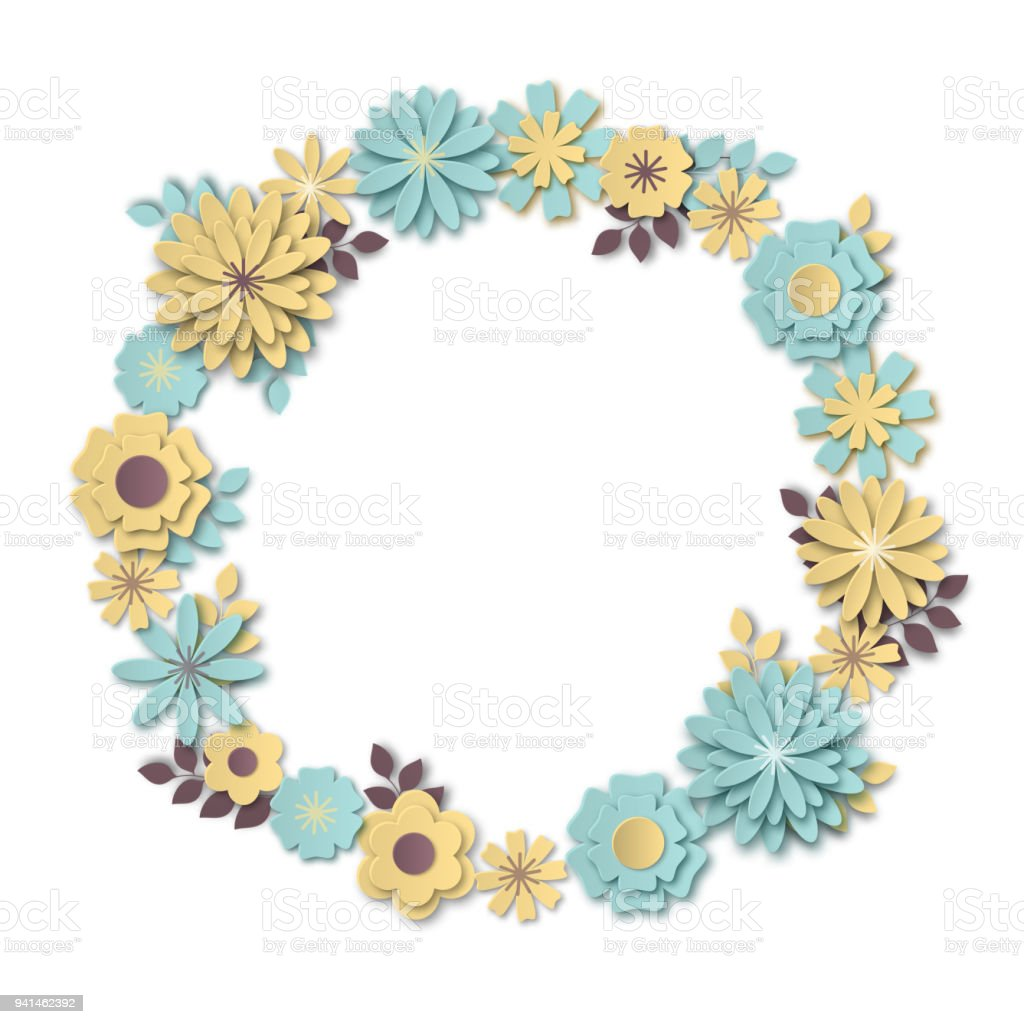 Wreath of delicate pastel blue and yellow flowers in the style of wreath of delicate pastel blue and yellow flowers in the style of paper art royalty mightylinksfo