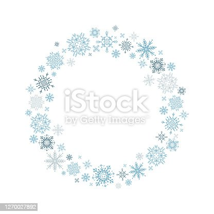 istock Wreath of hand-drawn blue snowflakes on white background. 1270027892
