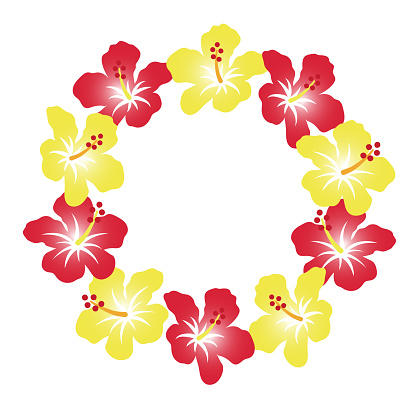 A wreath of hibiscus, a tropical flower. Background decoration, round