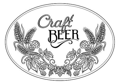 Wreath of Hop and barley for craft beer concept in a round. Hand drawn Line art and hand lettering isolated on white.