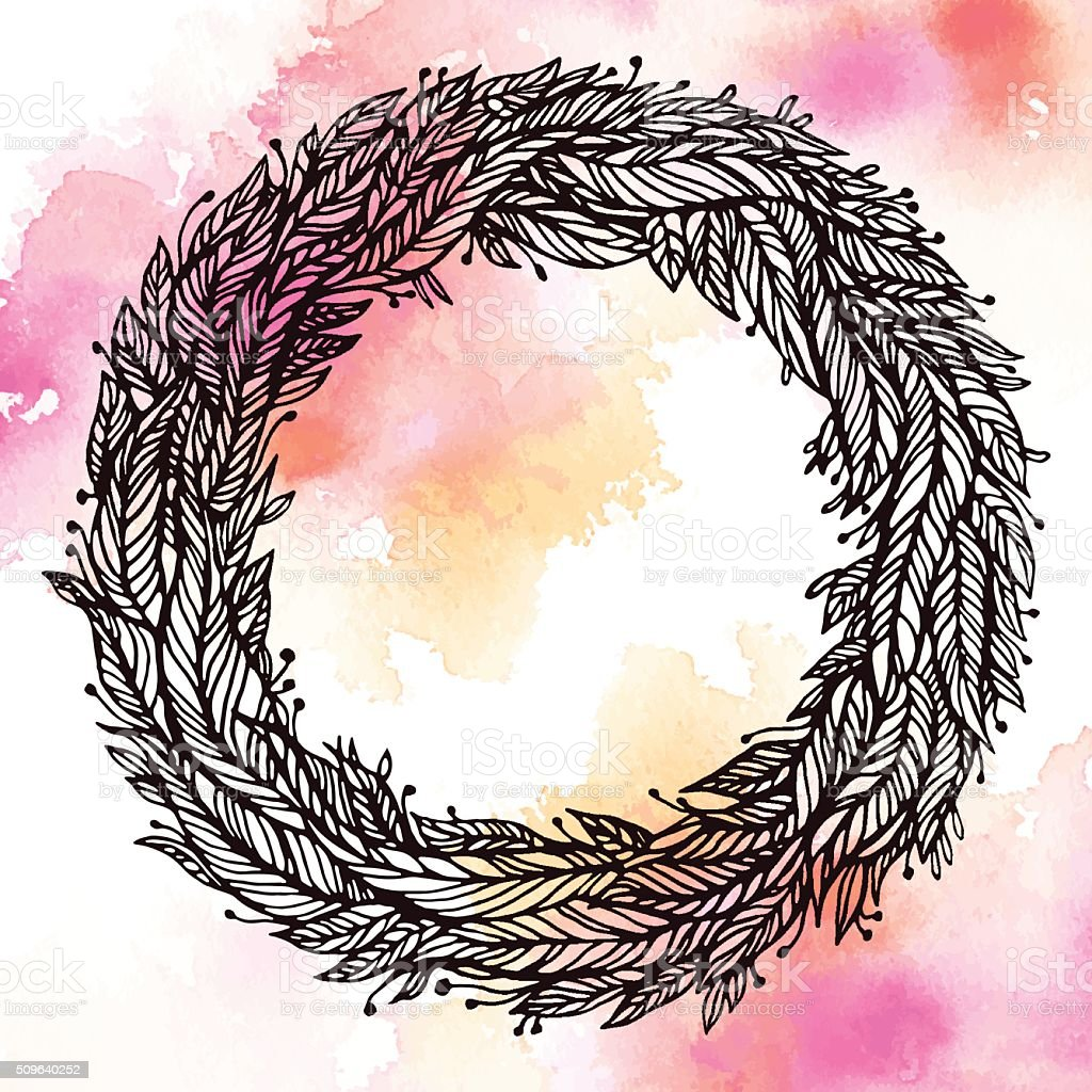wreath of leaves feathers circular pattern on watercolor stock