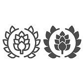 Wreath of leaves with hops line and solid icon, Craft beer concept, beer logo or banner sign on white background, wreath with a hop branch icon in outline style for mobile and web. Vector graphics