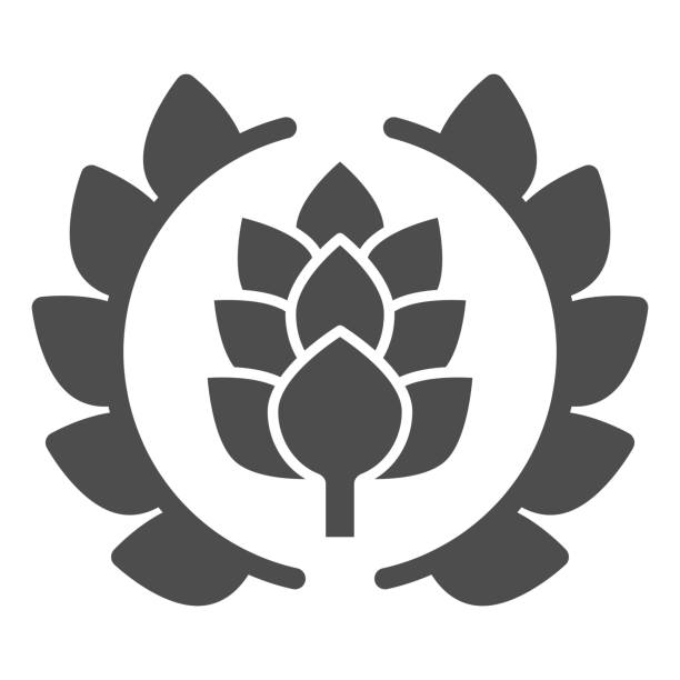 Wreath of leaves with hops solid icon, Craft beer concept, beer logo or banner sign on white background, wreath with a hop branch icon in glyph style for mobile and web. Vector graphics. Wreath of leaves with hops solid icon, Craft beer concept, beer logo or banner sign on white background, wreath with a hop branch icon in glyph style for mobile and web. Vector graphics alcohol drink borders stock illustrations