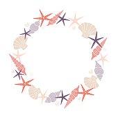 Wreath of marine elements. Isolated vector image. Eps 10