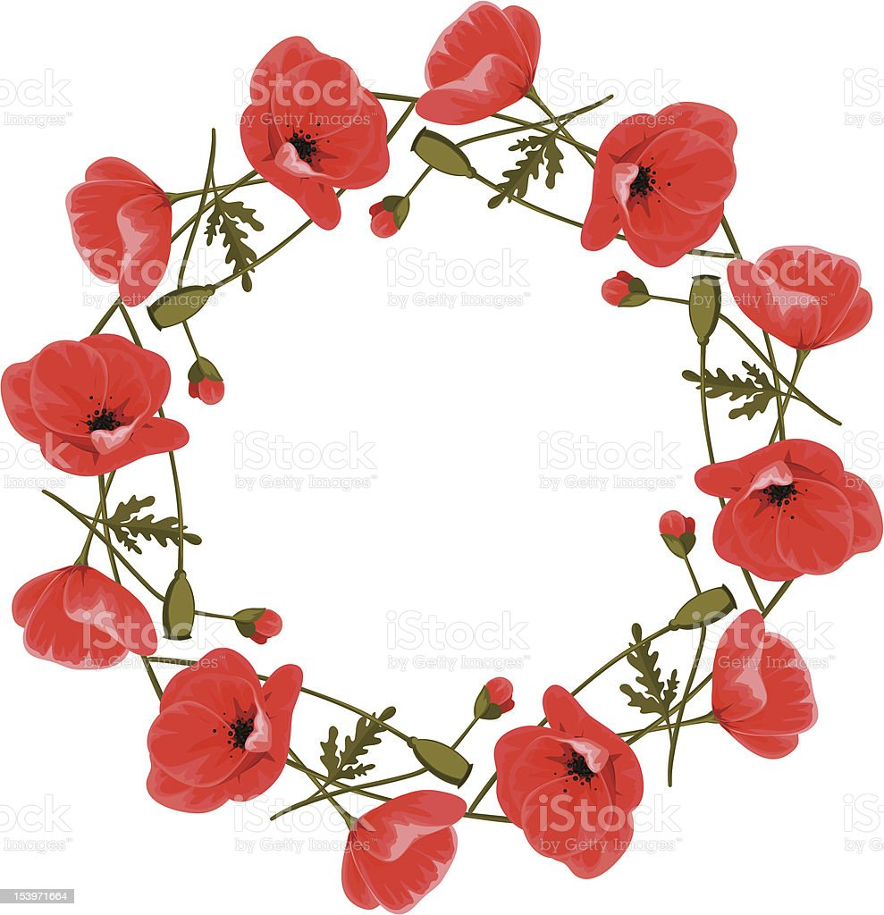 Wreath of red poppies royalty-free stock vector art