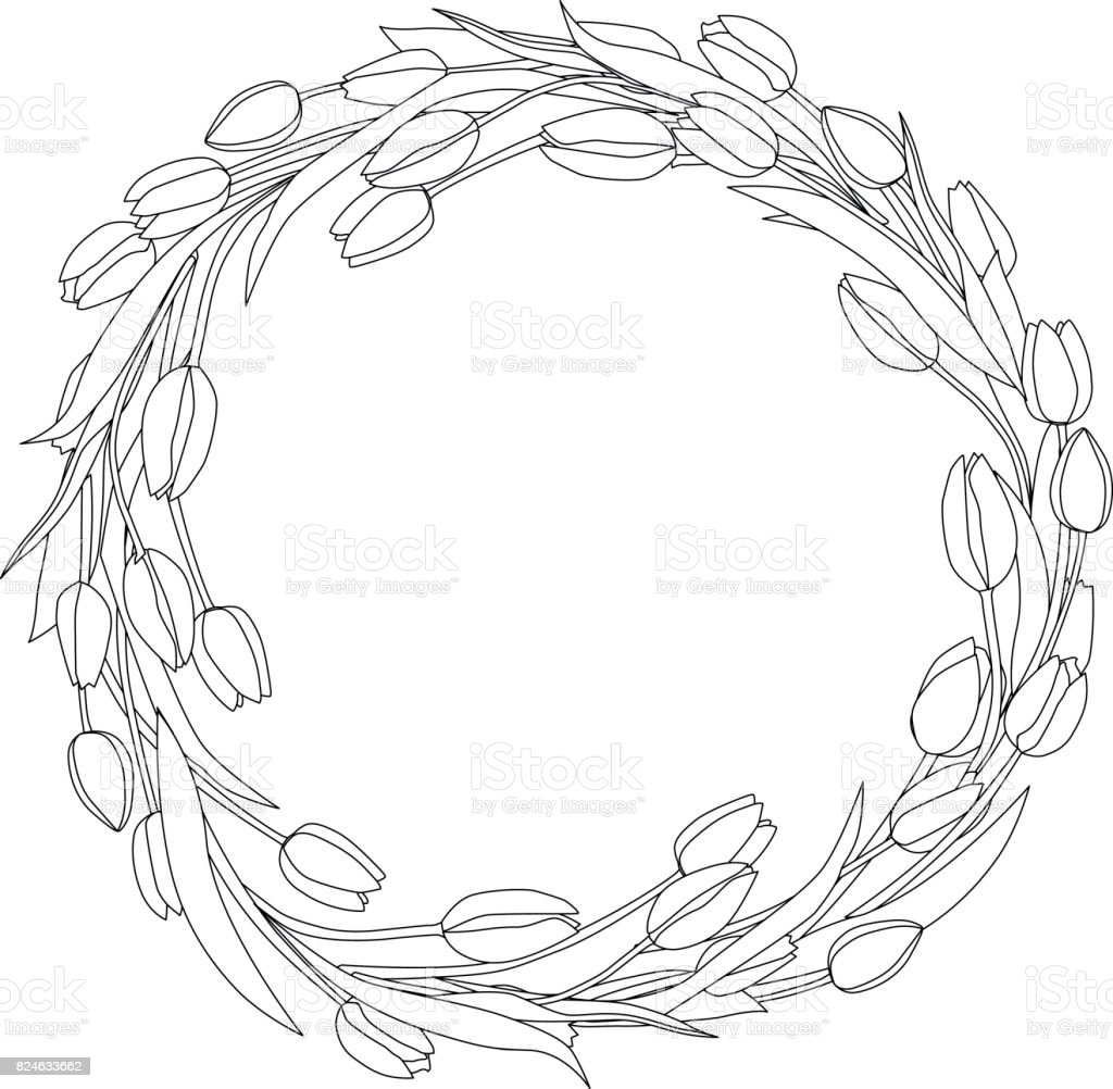 Wreath of tulips spring decoration border vector art illustration