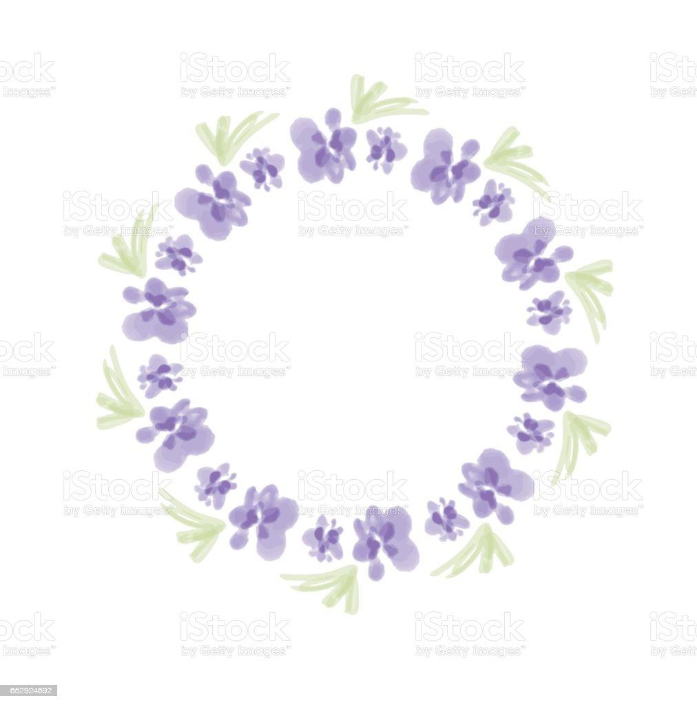Wreath of watercolor purple flowers hand painted round frame for wreath of watercolor purple flowers hand painted round frame for invitation wedding birthday izmirmasajfo