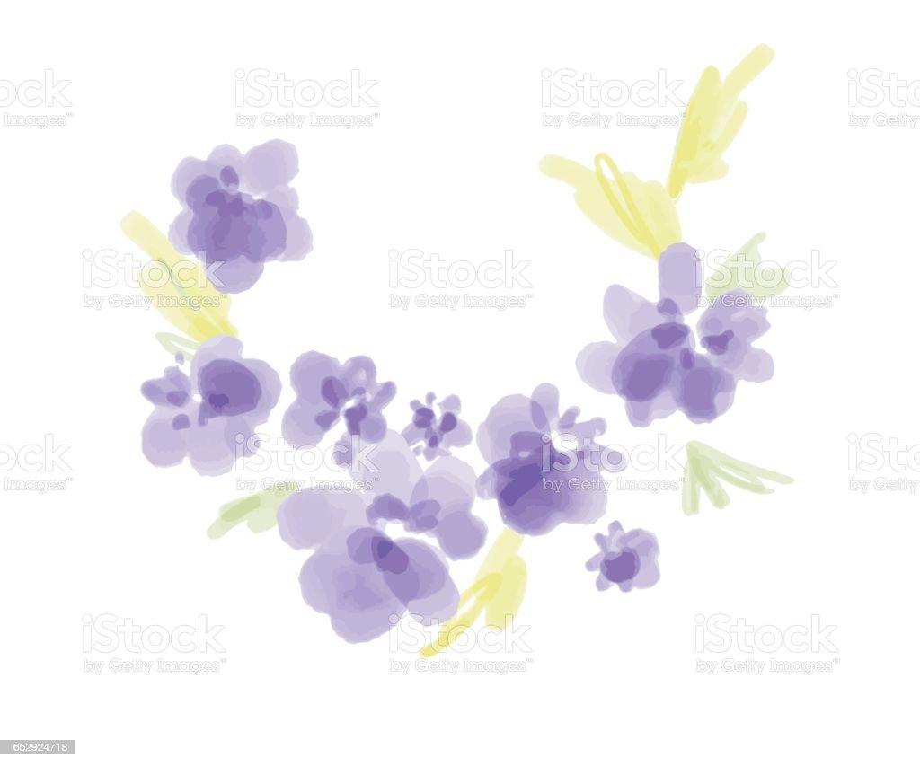 kranz aus aquarell lila blumen handbemalt runde rahmen f r einladung hochzeit geburtstagskarte. Black Bedroom Furniture Sets. Home Design Ideas