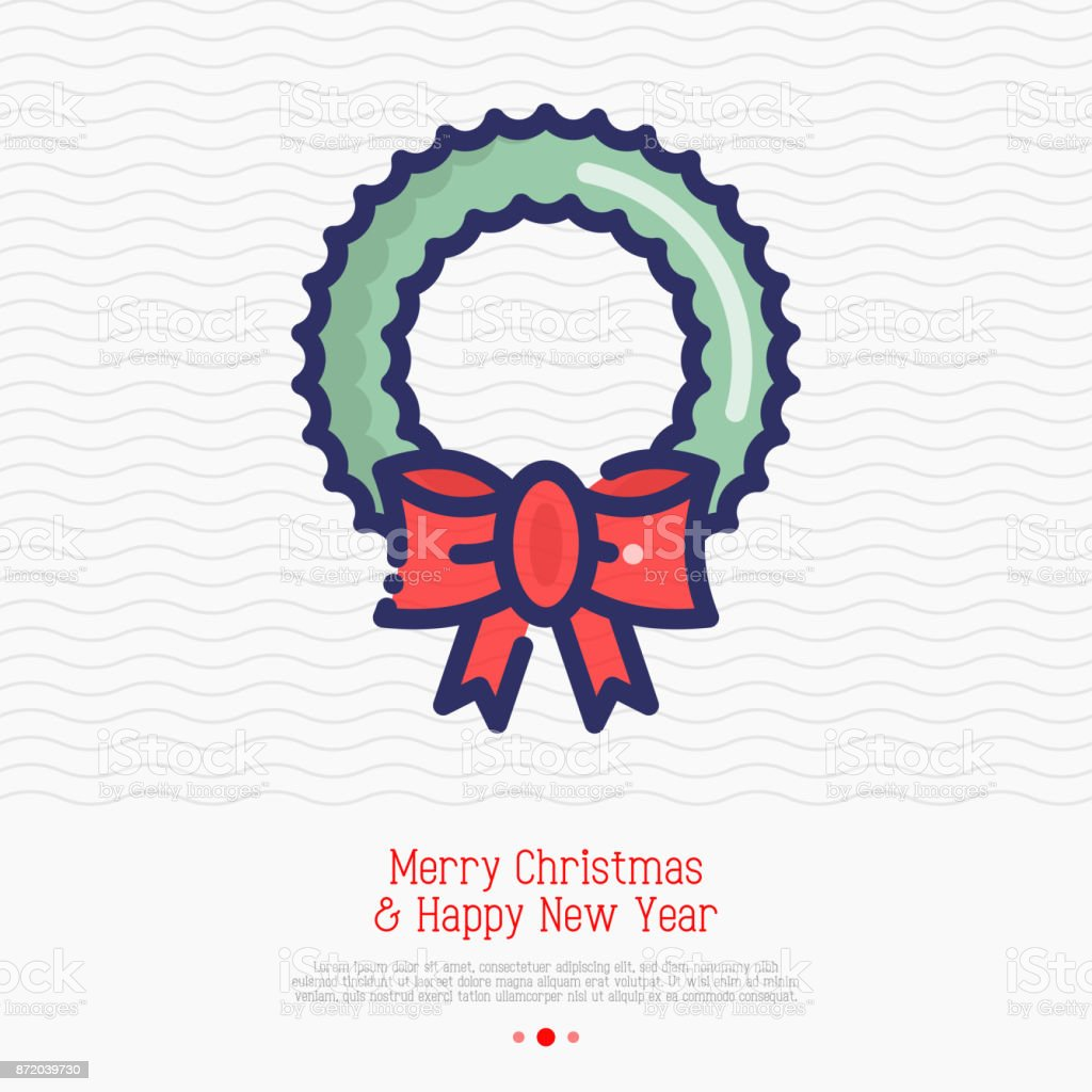 Wreath on the door thin line icon. Simple vector illustration of Christmas decoration. vector art illustration