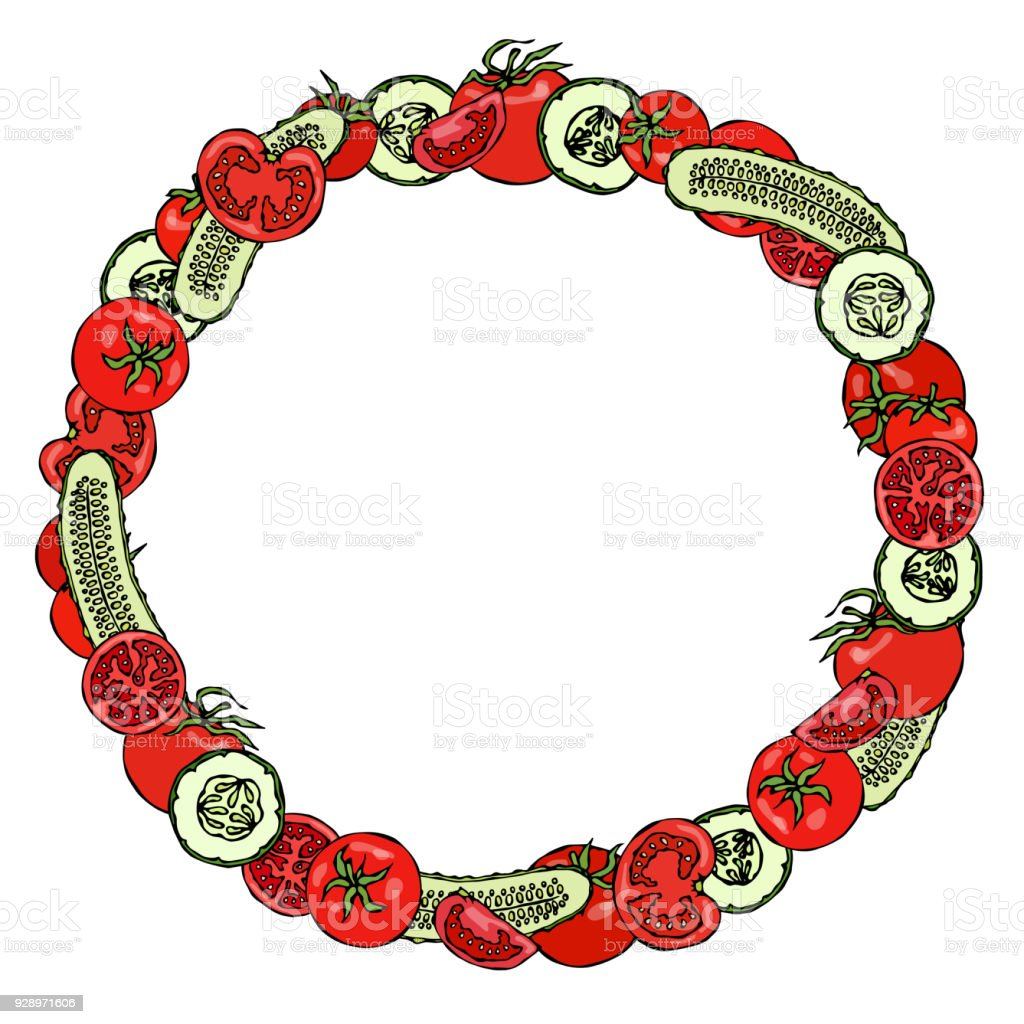 Wreath Or Round Frame With Green Cucumber And Tomato Slices With ...