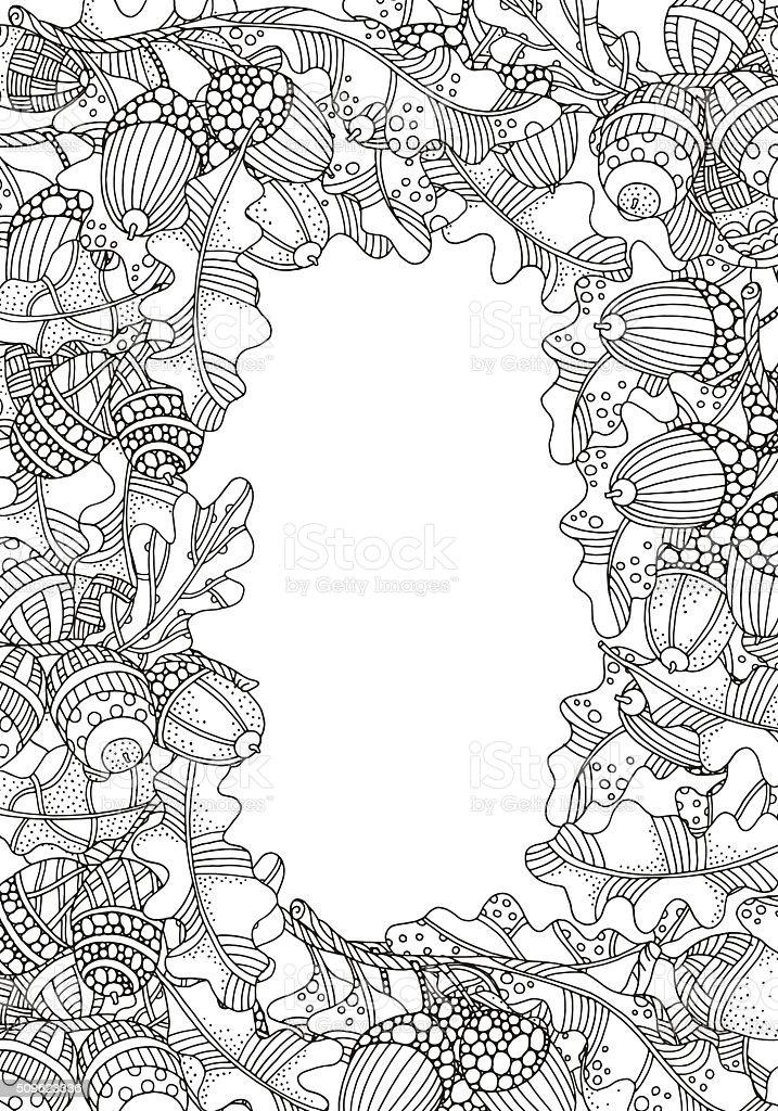 Ilustración de Corona De Ornamento De Forma Artística Bellotas Y ...