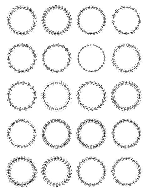 Wreath Set vector art illustration